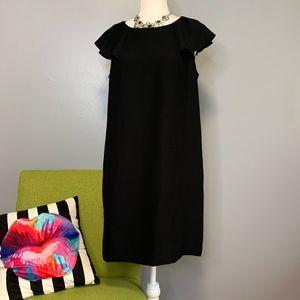 Banana Republic Black Ruffle Sleeve Shift Dress